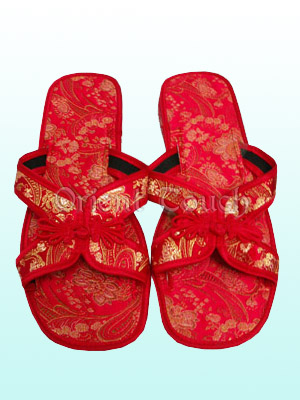 Butterfly Knotting Brocade Slippers
